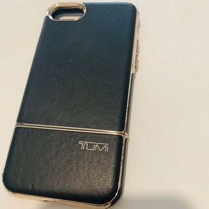 TUMI 2 PC SLIDER CASE Black/Gold Leather iPhone 7